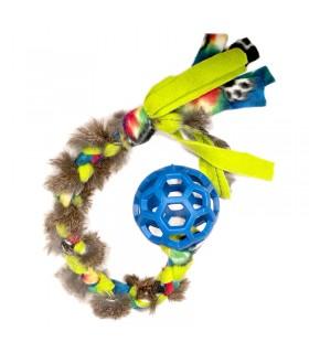 TUG AWAY CUWIN Hol-ee Roller Fleece and Fur Ball Tug - bonescompanyies.com
